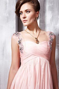 Elegant Long Evening Dresses   Elegant Pink Soft Sweetheart Long Prom Dress with Sparkling Straps