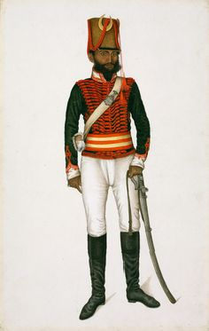 Kala in Uniform, India, Delhi; 1815-1816, from the 100 paintings of native troops and villagers that were commissioned by the brothers James and William Fraser in around 1815. William Fraser's servant Kala wearing the uniform that was used by the irregular cavalry regiment Skinner's Horse, which was headed by James Skinner, with Fraser as his second in command.