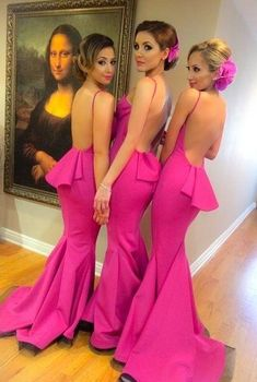 Wholesale Fuschia Sexy Mermaid Junior Bridesmaid Long Backless Wedding Party Gowns Brides Maid of Honor Dress Custom Made Size And Color, Free shipping, $97.07/Piece | DHgate Mobile