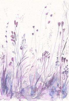 Art Painting Print Original watercolor flower floral meadow home decor illustration purple wall decor Painting & Drawing, Painting Prints, Art Prints, Watercolor Flowers, Watercolor Paintings, Painting Flowers, Watercolour, Purple Wall Decor, Art Plastique