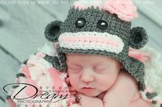 Lil' Princess Sock Monkey Hat in Gray With Pink and by ALilLoopy, $22.00