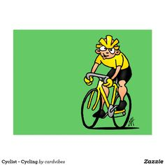 Cyclist - Cycling Postcard #cycling #cyclist #postcard #Zazzle #Cardvibes #Tekenaartje #SOLD