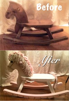 Before and after of my childhood rocking horse...now belonging to my little…