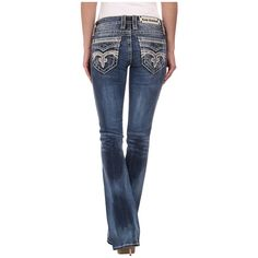 Rock Revival Pilkin B8 Bootcut in Medium Indigo Women's Clothing ($169) ❤ liked on Polyvore featuring jeans, slim fit bootcut jeans, indigo blue jeans, bootcut jeans, mid rise boot cut jeans and rock revival jeans