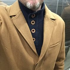 Camel coat and dark blue sweater with brown buttons. The lovely combination. #men #middle_aged #street #fashion