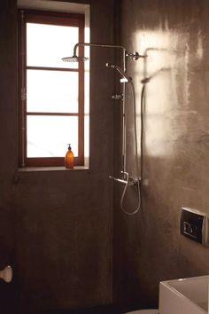 Concrete shower.