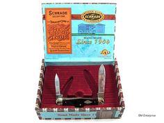 Schrade Two Blade Dark Wood Handle Pocket Knife with Cigar Box