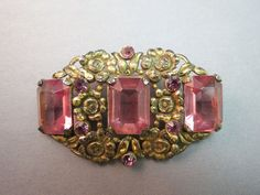 Antique Base Metal Brooch Gold Plate Pink Emerald Cut Rhinestone Repousse Flower #Unbranded SOLD!