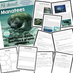 Non fiction manatees article, questions, 2 graphic organizers you can use with any informative text and 2 language/editing mini assessments. Great grade CCSS and FSA practice! 5th Grade Reading, Reading Practice, Teaching Reading, School Resources, Teacher Resources, Teaching Science, Science Fun, Language Editing, Classroom Language