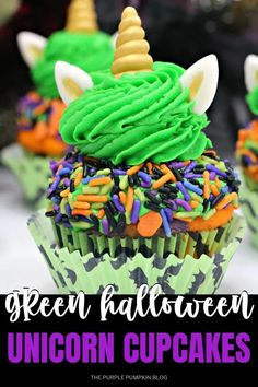 These green Halloween Unicorn Cupcakes are fun to make and are an awesome addition to your Halloween dessert table! They are double-frosted, covered in sprinkles, and the ready-made unicorn icing decorations add that little bit of magic that Halloween is all about! #HalloweenCupcakes #Recipe #ThePurplePumpkinBlog Halloween Dessert Table, Halloween Party Drinks, Halloween Desserts, Halloween Cupcakes, Purple Food Coloring, Gel Food Coloring, Halloween Unicorn, Icing Decorations, Purple Pumpkin