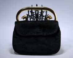 Vintage Black Velvet Lion Or Dragon Head Single Handle Handbag Purse #vintage #vintageaccessories #vintagehandbag #vintagepurse #black #velvet #retro #vintagestyle #vintagefashion #dragonhead #lionhead #1950s #1960s #vintageeveningbag #rockabilly #pinup