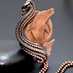 Wire Wrap Copper Dolphin Pendant - Nicole Hanna Jewelry