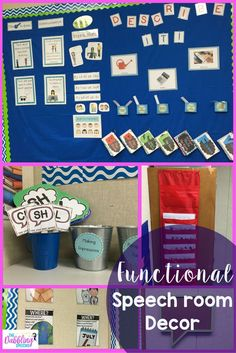 Functional Speech room Decor ideas to make your room pretty and useful! Love the ideas for the speech therapy bulletin boards.