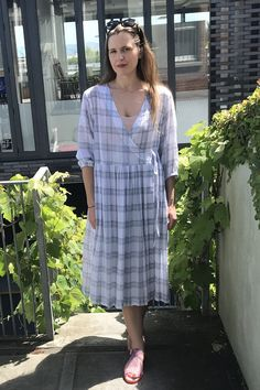 We love our new relaxed wrap summer dresses in silk floral and fine cottons and linens. Linens, Wrap Dress, Shirt Dress, Silk, Summer Dresses, Floral, Sleeves, How To Make, Cotton