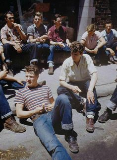Teens hanging out, 1950s.