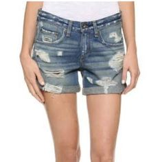 Rag & Bone Distressed Boyfriend shorts Never been worn, brand new with tags. Size 24 ( I am usually a size 25/ 26 but went down a size. Sales clerk said to go down as they stretch out.) Really great staple for any closet! rag & bone Jeans Boyfriend