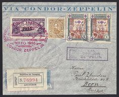 Paraguay Graf Zeppelin 1935 flight cover Sieger #301:  Registered cover from Asuncion, Paraguay 17 May 1935 (Paraguay to Europe date handstamp) to Bern, Switzerland.   Red May 1935 pictorial Graf Zeppelin Paraguay Confirmation mark on 1935 overprinted Zeppelin stamp and LZ via Condor Zeppelin handstamp.  Backstamps (arrival cancellations): Zurich Flugplatz 28 May 1935 (28. V. 35) and Bern, Switzerland 28 May 1935 (28 V.35).
