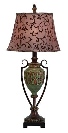 Victorian Vase Table Lamp Green Gold Floral Accent D | lamp | lighting, furniture | accents, home decor | accessories, wall decor, patio | garden, Rugs, seasonal decor,garden decor,patio decor,lamps and lighting
