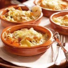 Griekse garnalengratin Dutch Recipes, Greek Recipes, Fish Recipes, Snack Recipes, Healthy Recipes, Snacks, I Love Food, Good Food, Tapas