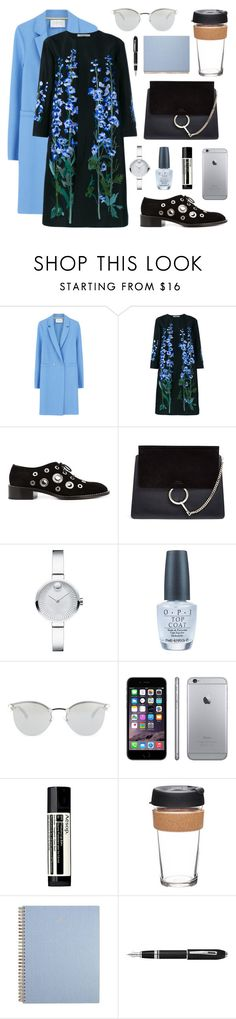 """Blue flower dress"" by nicoleszlavik ❤ liked on Polyvore featuring Harris Wharf London, Alice Archer, Proenza Schouler, Chloé, Movado, OPI, Fendi, Gravis, Aesop and KeepCup"