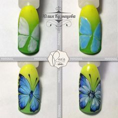 Photo Butterfly Nail Designs, Butterfly Nail Art, Nail Art Designs, Nailart, Nail Tutorials, Perfect Nails, Love Nails, Nail Tech, Trendy Nails