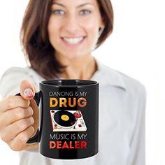 Amazon.com: Mug Techno Dancing is my drug music is my dealer mug - coffee cup gift for friend (11oz) Black: Kitchen & Dining