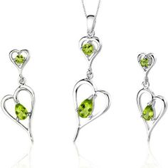 Heart Design 2.25 carats Pear Shape Sterling Silver Rhodium Finish Peridot Pendant Earrings Set Peora. $39.99. Save 75% Off!
