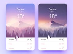 Weather App by goumy on Dribbble Web Mobile, Mobile Web Design, App Ui Design, User Interface Design, Flat Design, Design Design, Design Thinking, Module Design, Template Web