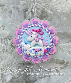 Handcrafted Polymer Clay Whimsical Unicorn Scene Ornament by Kay Miller. Polymer Clay Kunst, Polymer Clay Figures, Polymer Clay Animals, Fimo Clay, Polymer Clay Projects, Polymer Clay Creations, Clay Crafts, Polymer Clay Ornaments, Polymer Clay Christmas