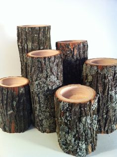 5 tea light wood branch tree slice candle holders fall decor
