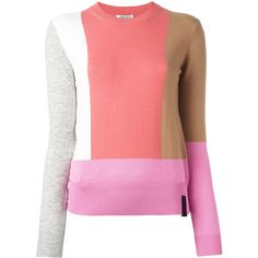 Kenzo colour block jumper (1.245 BRL) ❤ liked on Polyvore featuring tops, sweaters, kenzo sweater, long sleeve jumper, red long sleeve top, jumpers sweaters and multicolor sweater