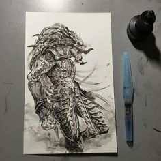 Predator ink/ink wash on watercolour paper Might give it colour at some point Is there a new predator movie in the works? Or am I imagining things...? #art #draeing #ink #predator #alien #joverinks #pentelaquashbrush #twitter #pinterest #tumblr #blogger #ahnold