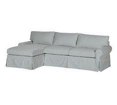 PB Basic Slipcovered Right Chaise Sofa Sectional, Box Edge Polyester Wrapped Cushions, Sateen Ticking Stripe Indigo