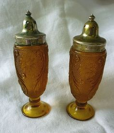 Amber Tiara Sandwich Footed Salt and Pepper Shakers from chezmarianne on Ruby Lane
