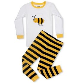 """Leveret Little Girls """"Bumble Bee"""" 2 Piece Pajama 100% Cot..."""