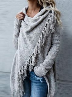 Knit Cardigan Irregular Tassel Shawl Sweater – Zobrain Mode Outfits, Casual Outfits, Fashion Outfits, Womens Fashion, Tween Fashion, Women's Casual, Dress Casual, Ladies Fashion, Looks Style