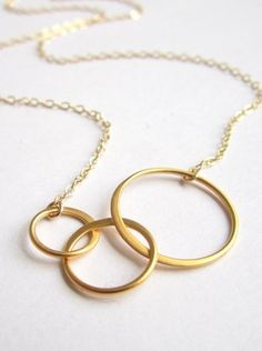 Gold Necklace, Three Circles Eternity, Linked rings, Trinity Karma