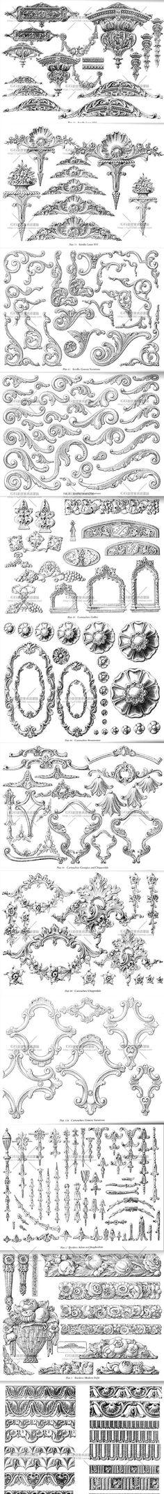 【古典风格西方边框纹饰图集】欧洲建筑花纹...