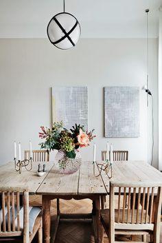 Dinner table decoration by J. Farrow Ball, Turbulence Deco, Scandinavian Interior Design, Rustic Table, Wood Table, Rustic Wood, Interior Photography, Fashion Room, Dream Decor
