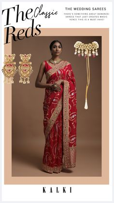 Scarlet red banarasi saree in georgette with weaved paisley jaal. Border and pallu adorned with weaved stripes along with red and green thread, cut dana and beads work. Teamed with a matching unstitched blouse in cotton silk. The length of the blouse is 0.89 meters. Banarasi Sarees, Red Fabric, Saree Wedding, Cotton Silk, Scarlet, Festive, Paisley, Sari, Scarlet Witch