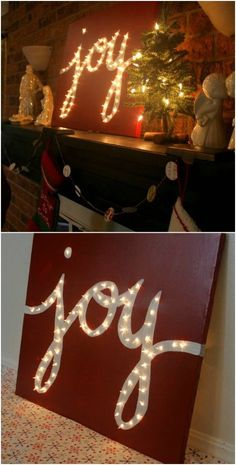 A quick painting job and a few clear lights give you the perfect mantel decoration. You could also just hang this one the wall. This Joy marquee is really easy to make and is so filled with Christmas cheer. The lights poke through the canvas which really makes the white lettering of the word stand out. You can do this with any word or phrase, but this one will really help you to spread the Joy of the Christmas season – pun intended.Z