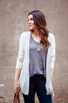 grey tee + grey cardigan | kendi everyday