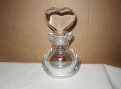 AWESOME Heart STOPPER Signed ORREFORS Glass or Crystal PERFUME with ORIGNL LABEL