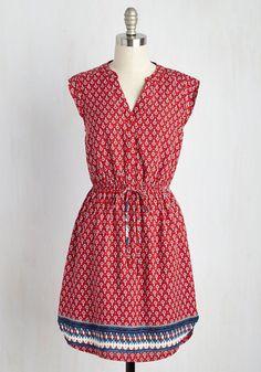True to Your Woods Dress - Red, Blue, Print, Casual, Sundress, A-line, Shirt Dress, Sleeveless, Spring, Woven, Good, Mid-length