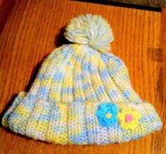 Newborn/Infant Girl 0-3 Mos. Crochet Hat-Yellow Blue & White with Pom Pom..