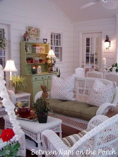 Between Naps on the Porch  Lovely Ideas for setting the table and other great things for the house.  I love her porch.  Would love to curl up with a good book and a treat for hours on end here.