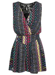 Aztec Crochet Playsuit. Could be a casual day/evening outfit or travel to Mexico.