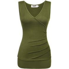 Womens V Neck Faux Wrap Ruched Side Tank Top (225 UAH) ❤ liked on Polyvore featuring tops, v neck tops, green tank, green top, side ruched tops and green tank top