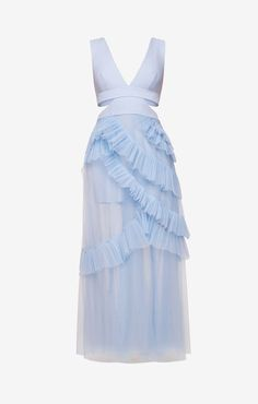 Hamptons Summer Party 2017 BCBGMAXAZRIA Joela Pleated Tulle Gown - Light Crystal Blue