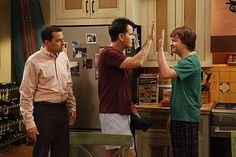 Charlie Sheen, Jon Cryer and Angus T. Jones in Two and a Half Men